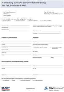 Anmeldeformular DAF EcoDrive Training